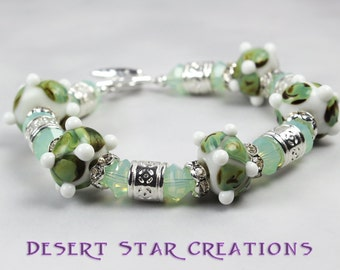 Green and White Glass Beaded Bracelet, Chrysolite Opal Swarovski Crystal Chunky Bracelet