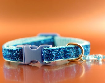 Blue Glittery Breakaway Cat Collar wIth Fish Charm