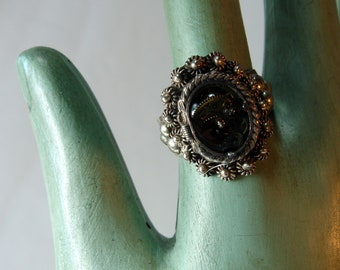 Sterling Silver Ring,  Steampunk, Watch Parts,