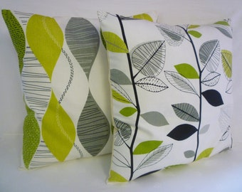 "BIG 22""  Cushion Pillow Cover Funky Retro Lime Green Gray Black White Designer Cotton Pillowcase Sham Slip"