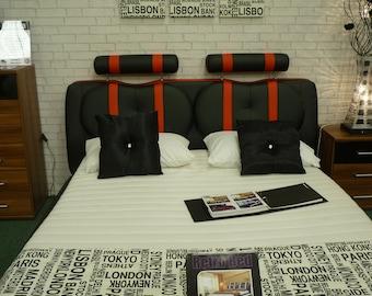 "Double Bed Runner Black White Metropolitan World Cities Throw Funky Retro  Design Over 6ft (2mts long-78"")"