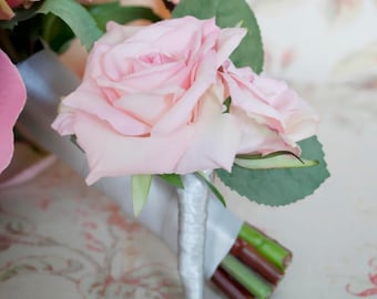 Wedding Boutonniere Pink Rose Wedding Boutonniere