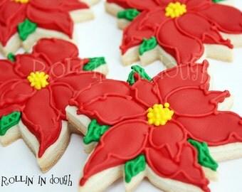 Christmas Cookies, Poinsettia Cookies, Holiday Cookies 1 - Dozen