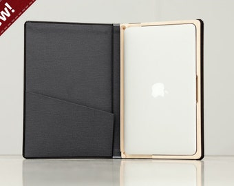 DISCONTINUED (SALE) The Cartella for MacBook Air 11 inch - Onyx Black with Slate Gray Interior