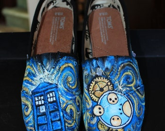 Custom Painted DOCTOR WHO Toms Shoes Sneakers  Any size any shoe Dr. Who Tardis Gallifreyan Van Gogh swirls
