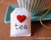 Tea bag felt bookmark -  with little heart