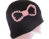 Black Beanie (Toque) With a Bow READY TO SHIP