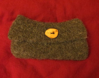 Rustic Wool Felt Clutch Purse in brown- natural wood button