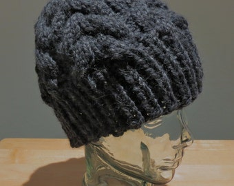 Wool blend Hand Knit Men's Cable Winter Hat- charcoal gray