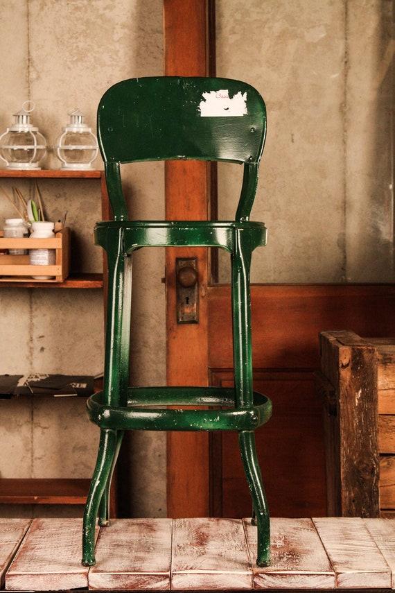 Vintage Industrial Shop Stool, Green
