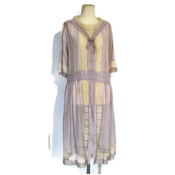 Vintage 1920 39 S Garden Party Dress Sheer Lavender Day