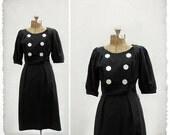 vintage 1950s big button wiggle dress