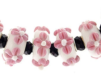 Big Hole 4.5mm 5Beads Pink flower white Lampwork bead Candy  Handmade jewelry designs European Style