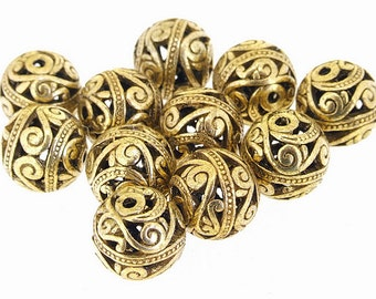 5 pcs of   Bronze Filigree charm Flower Balls Findings  15mm