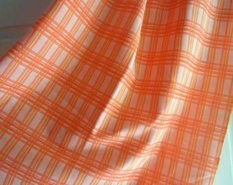 Orange, Peach, and Yellow Plaid Vintage Polyester Fabric Remnant