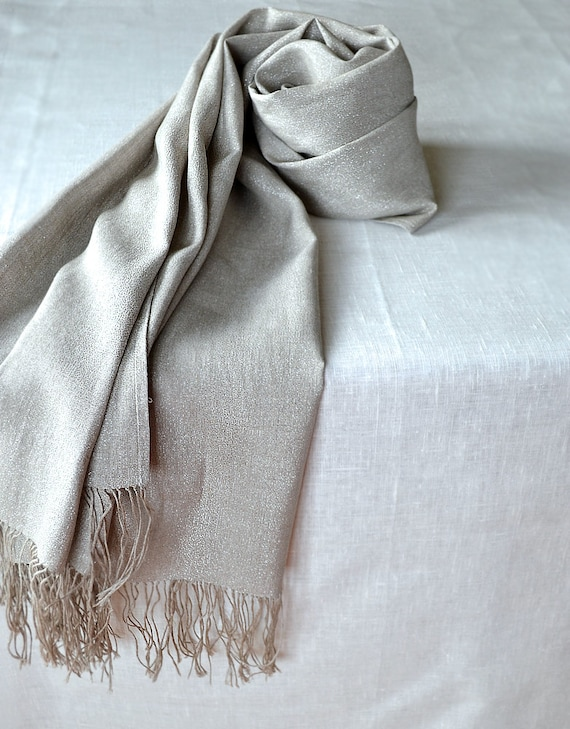 Scarf / Shawl  - Gray Linen With Silver
