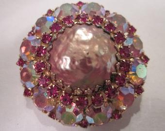 Vintage WEISS Pink Rhinestone Dome Brooch