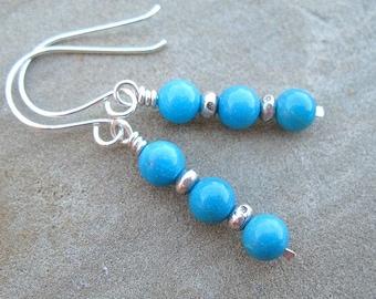 Turquoise Earrings Sterling Silver Jewelry Genuine Turquoise Gemstone Earrings Blue