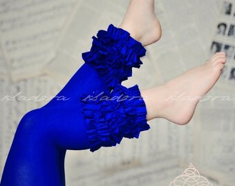 Girls Footless Ruffle footless Tights in Royal Blue