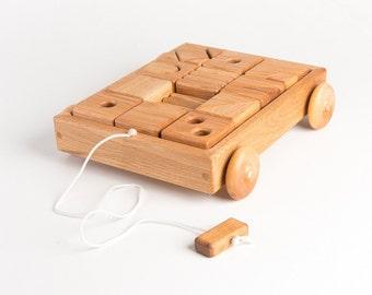 Wooden Toy Blocks Wagon in Oak (Classic, Developmental, Montessori, Natural Wood Toy)
