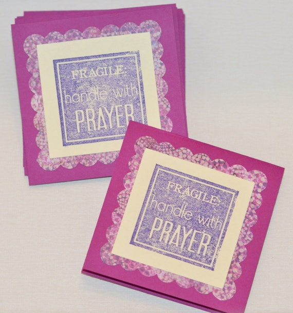 Christian Cards, Prayer Mini Cards, Fragile Handle with Prayer, Purple Pink Cream Set of 10