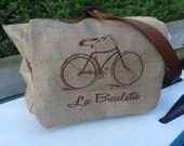 Eco Friendly 1 Semi-Custom Messenger Bag - Handmade from a Recycled Coffee Sack