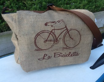 Eco Friendly 1 Semi-Custom Messenger Bag - Handmade from a Recycled Coffee Sack CC