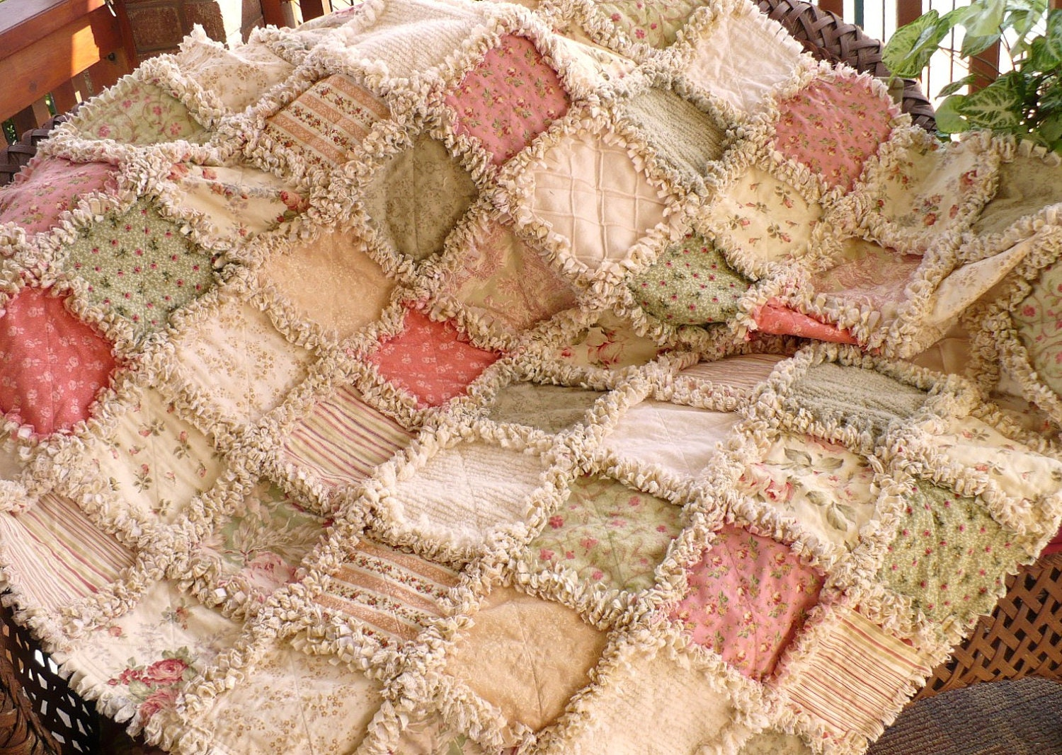 Shabby Autumn Roses Rag Quilt Fall Cottage Garden Lap Throw