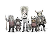 Labyrinth - The Bad Guys & Toby - 8 1/2 x 11 Illustration Print