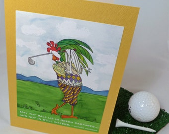 Golf Quote Note Cards - 4 Card Set - Blank Inside - Golf Humor Quote