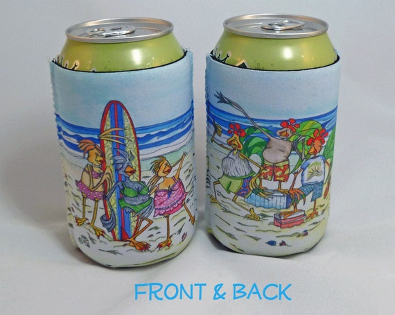 Beach Can Cooler Summer Beer Soda Drink Cozy Sleeve Personalize BBQ Surfs Up Drink Insulator