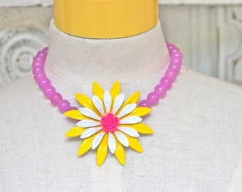 Enamel Flower Necklace -Yellow and White Pink Enamel Flower Purple Jade Glass Bead Necklace - One of a Kind,Wedding,Beach,Tropical,Statement