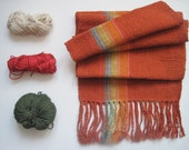 Hand Woven Scarf 'Burnt Orange Rainbow II ' Woven with Cotton and Eco-Conscious Fibers