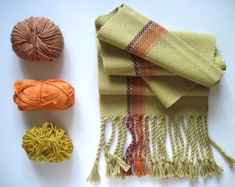 Mustard Handwoven Scarf, Yellow Pima Tencel and Multi Öko Fiber handwoven Scarf - 'Smoky Maiz'