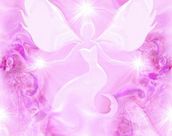 "Pink Angel Art, Reiki Energy Charged Wall Decor, Original Art Print ""Bliss"""