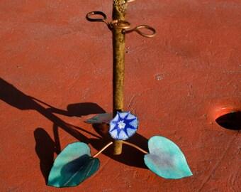 Enameled Copper Flower Toothbrush Holder / Countertop quad toothbrush stand / wooden toothbrush holder