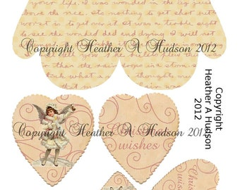 Shabby Vintage Ivory Christmas Mitten Ornament Pocket  tag Digital Collage sheet