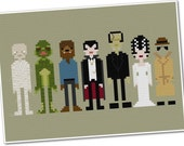 Classic Movie Monsters - The *Original* Pixel People - PDF Cross-stitch Pattern - INSTANT DOWNLOAD