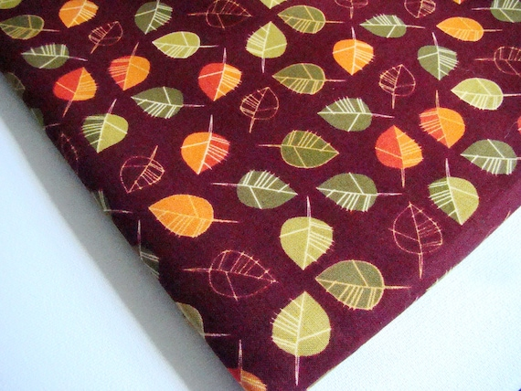 Nutmeg Fall Fabric by Robert Kaufman Leaves on Plum Last Half Yard Piece
