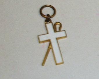 Antique White Enameled Gilt Bronze Shepherd's Crook & Cross RELIGIOUS Necklace Pendant STEAMPUNK