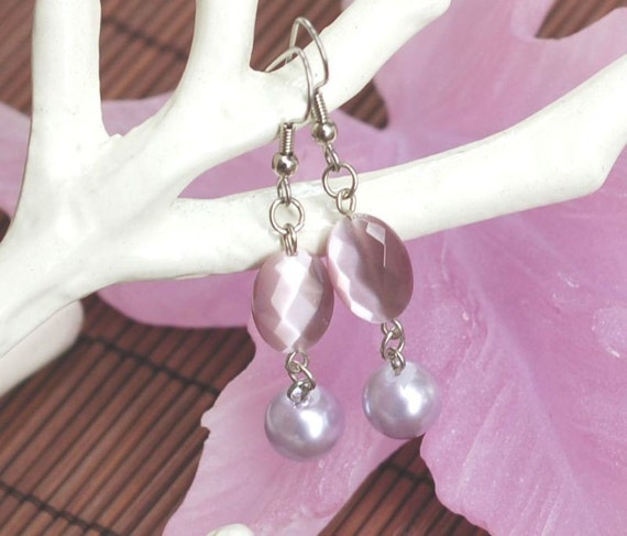 Lavender Mist and Lilac Earrings, Nickel Free or Surgical Steel Earwires