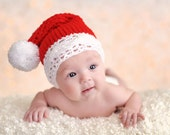 3 to 6m Baby Santa Hat, Santa Baby Hat, Christmas Gift, Red Hat Pom Pom Beanie, Santa Claus Hat Red Elf Hat Crochet Christmas