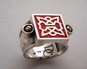for Men and Women Ring Sterling Silver with 9k Gold and Enamel black and red Unisex
