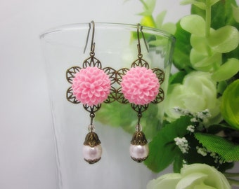 Pink Dahlia with pink swarovski pearl Earrings. Gift for her. Birthday, Bridesmaid, Maid of Honor, Christmas.