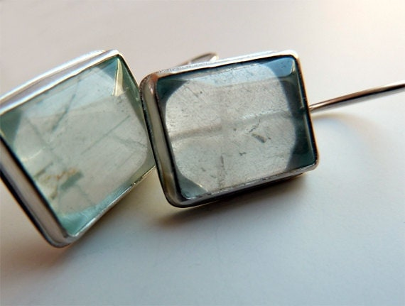 jewelry aquamarine earrings blue stones sterling silver