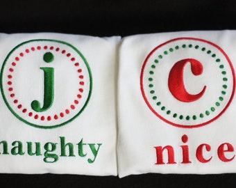 Naughty and Nice Twin or Sibling Bodysuit or Toddler Tee Shirt Set - Christmas