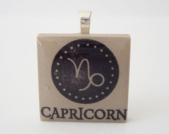 Capricorn the Sea Goat Necklace Zodiac Jewelry Rubber Stamped Porcelain Tile