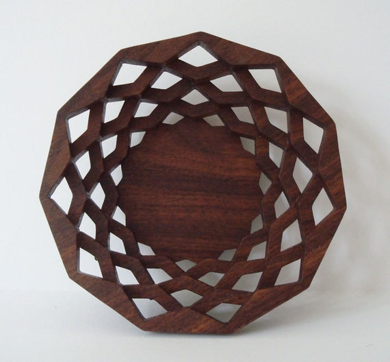 RESERVED FOR Aiden (atsco33): Wood Bowl Stacked Layer Star Filigree Scroll Saw Hand Cut