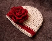 Crochet Christmas Baby Hat - Tan Baby Girl Beanie with Deep Red Rose Flower