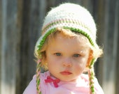 Preppy Fall Toddler Hat with Ear Flap - Crochet Kid's Hat in Cream, Pink, and Green with Braided Ties